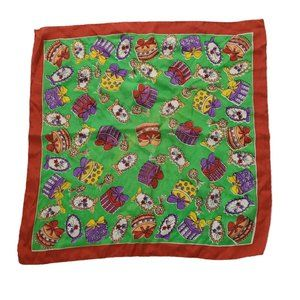 Baar and Breads Square Presents Green Burnt Red Silk Occupied Japan 16.5 x 16.5